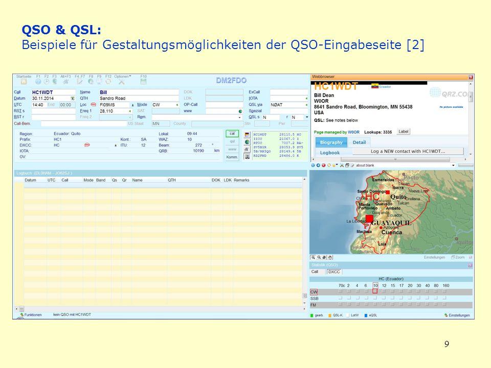 QSO & QSL: Beispiele für Gestaltungsmöglichkeiten der QSO-Eingabeseite [2]